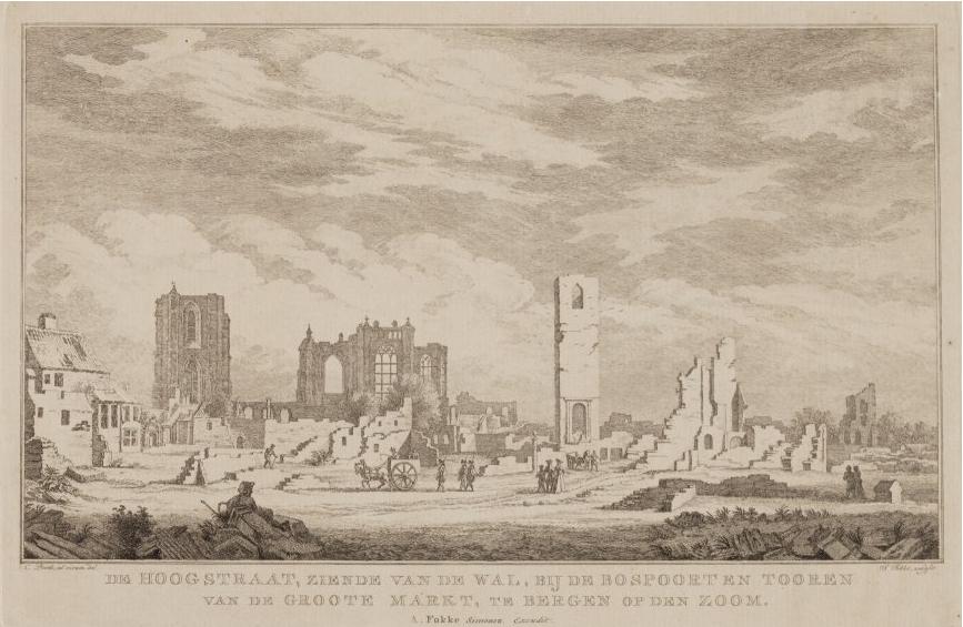 Een totaal verwoeste Hoogstraat en Kerkstraat na de inname van 1747 waarbij Johannes Stadthouders om het leven kwam. De puinhopen geven goed de bruutheid en schadelijkheid van de aanval weer; zelfs de Peperbus raakte 'ontkroond'. (Afbeelding: S. Fokke/RHC 't Markiezenhof)