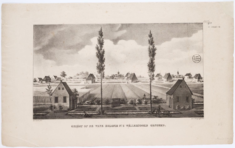 Zicht op Willemsoord, een andere veenkolonie van de Maatschappij voor Weldadigheid, in 1827. (Afbeelding: Universiteitsbibliotheek Leiden/Koninklijke Bibliotheek)